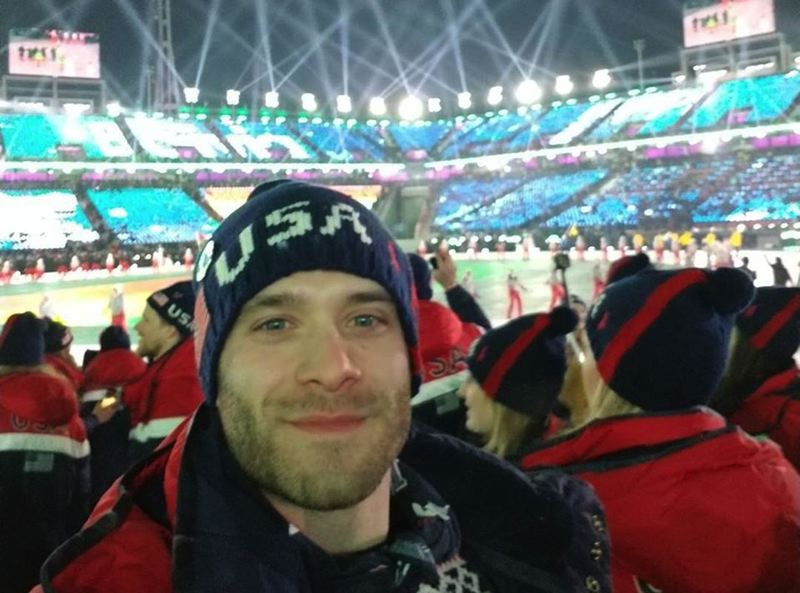 CONTRIBUTED PHOTO - Sam Michener prepares to head into the stadium for Opening Ceremonies.