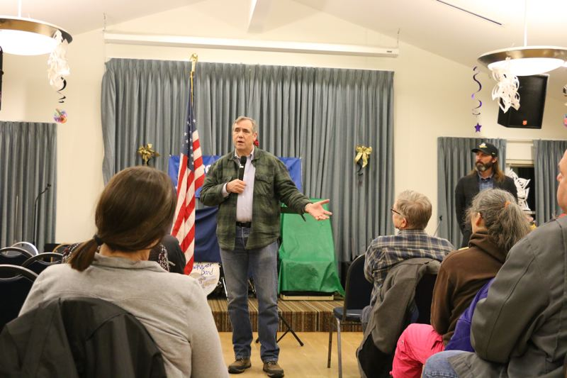 PHOTO COURTESY OF SARA HOTTMAN - U.S. Jeff Merkley speaks during a town hall event at the St. Helens Senior Center on Tuesday, Feb. 20. The event drew a modest crowd and the senator was able to select audience members at will to ask him questions or make public comments.