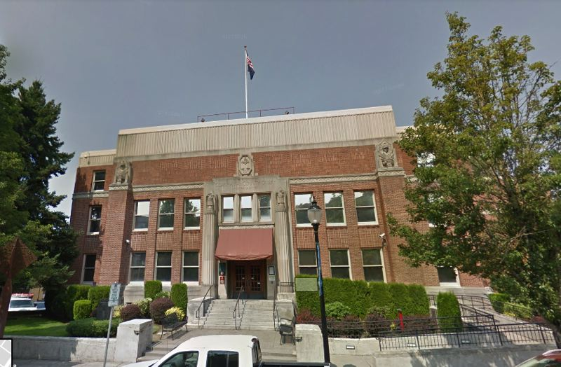 SOURCE: GOOGLE STREET VIEW - The Clackamas County Courthouse is 82 years old, and made of bricks in a liquefaction zone.
