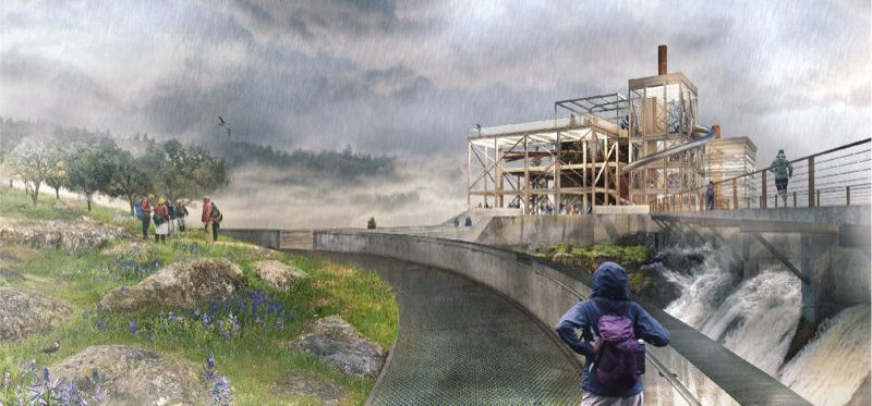 WFLP - Artist rendition of Riverwalk concept at the Willamette Falls Legacy Project, which has hit a snag.