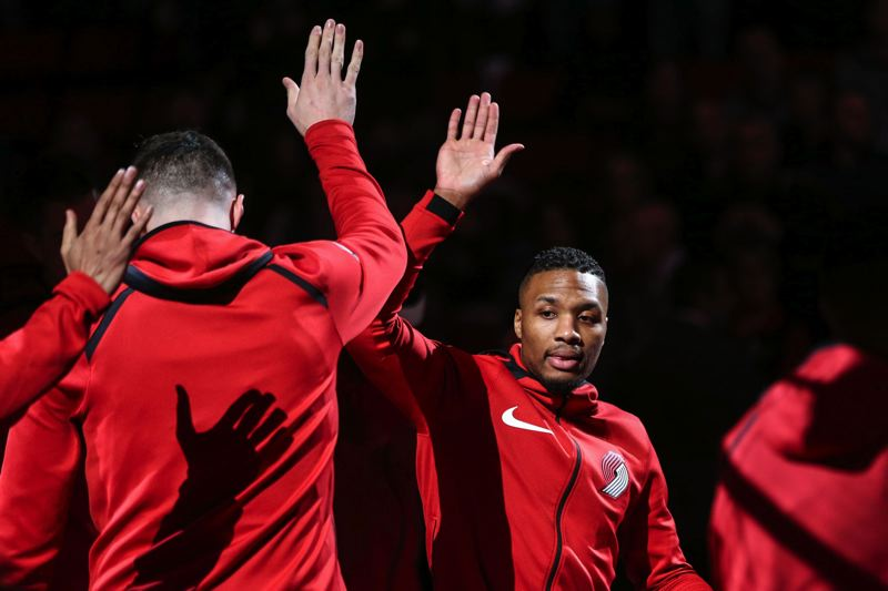 TRIBUNE FILE PHOTO: DAVID BLAIR - Damian Lillard (right) remains the biggest positive force, with his play and captain leadership, as the Trail Blazers climb in the NBA Western Conference standings.