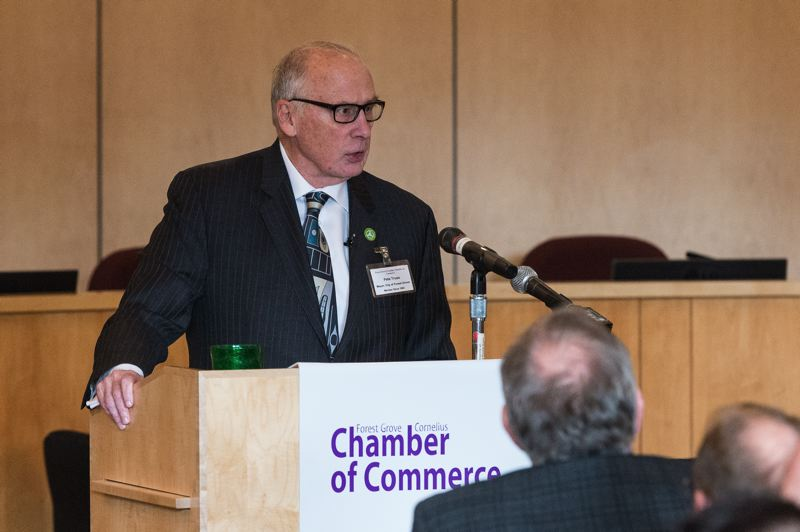 STAFF PHOTO: CHRISTOPHER OERTELL - Forest Grove Mayor Pete Truax discussed the year that was and provided some thoughts on the year to come in a wide-ranging State of the City address Monday.