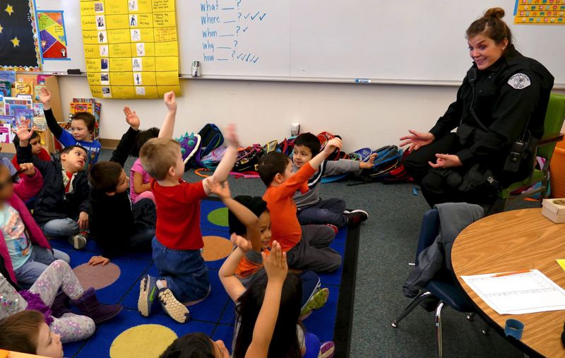 PHOTO COURTESY: NCSD - Milwaukie Police Department's school resource officer Lindsey Nold recently spent time sharing her expertise and building relationships with students at Lot Whitcomb Elementary School.