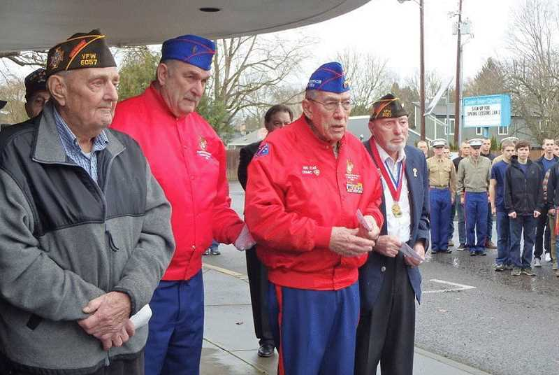 Bill Call (at right) fought at Iwo Jima and during the Korean War at the Chosin Reservoir. He was joined by World War II vets Louie Bosel and Howard Thomas. All are in their 90s. Thomas actually landed in a supply boat when the famous WWII photo was taken and looked up to see the Marines planting the flag on Mount Suribachi.