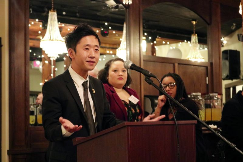 OUTLOOK PHOTO: ZANE SPARLING - Justin Hwang, 32, formally launched his candidacy to unseat Rep. Chris Gorsek, D-Troutdale, on Friday, Feb. 23 at The Troutdale House by the Sandy River.