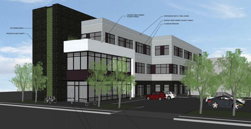 COURTESY RENDERING - The main entrance off Oak Street is shown in this proposed design for a three-story office building in the Rockwood neighborhood.