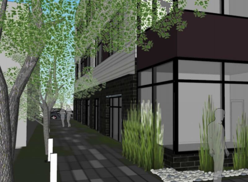 COURTESY RENDERING - A proposed entrance to the building to be built by RKM Development Corporation.