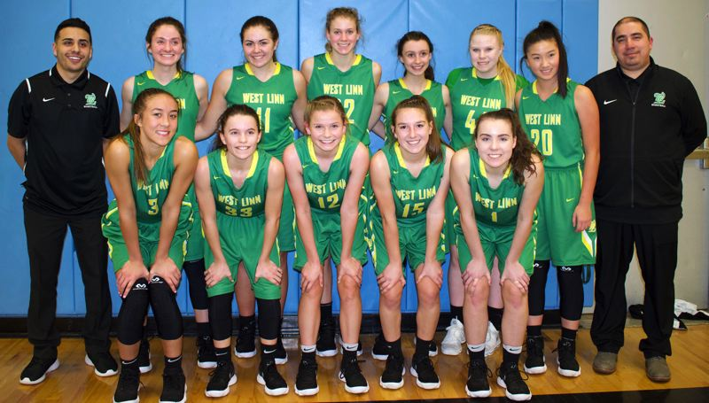 SUBMITTED PHOTO - The West Linn JV girls basketball team rolled to an undefeated season this year. The team includes (front row, left to right) Payton Shelstad, Jordan Selleh, K.C. Bromley, Paige Lemons and Katie Schoenborn, and (back row) coach Alex Soberanis, Elisabeth Dombrow, Vanessa Viuhkola, Alyx Burkhartzmeyer, Anna Strobbe, Logan Murai and coach Aaron Hunt.