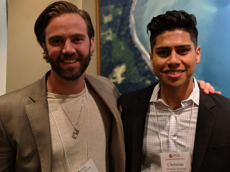 PAMPLIN MEDIA GROUP: JOSEPH GALLIVAN  - Mark Sauer (L) and his analyst colleague Christian Carreon with All One Wealth, a three-person Santa Monica-based socially responsible wealth management company. They were in town to get new ideas and network.