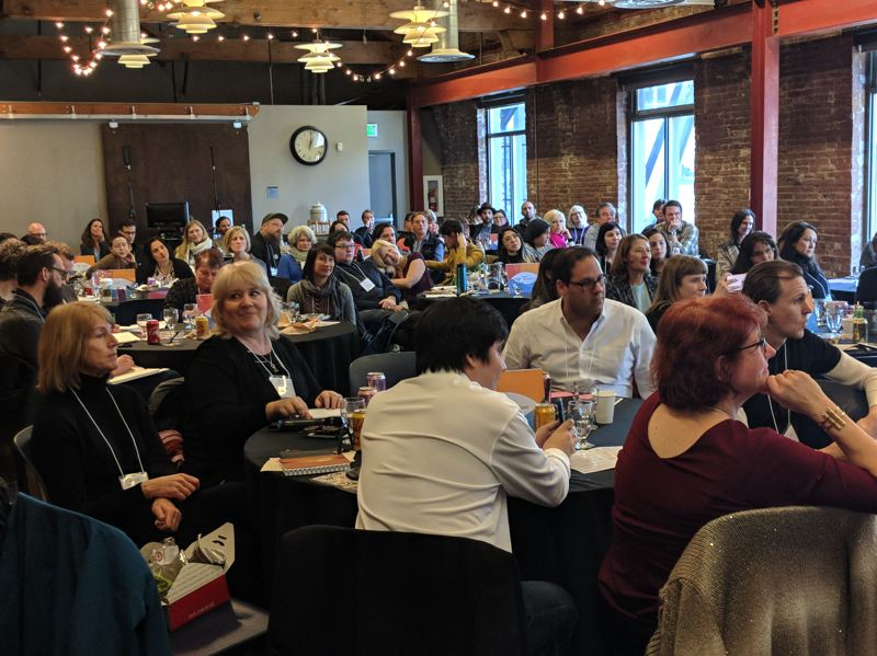 PAMPLIN MEDIA GROUP: JOSEPH GALLIVAN  - Despite Feb. 21 being a snow day in Portland, a full house showed up for Elevate Business 18 to learn more about conscious capitalism, the idea of running a business for the good of all stakeholders.