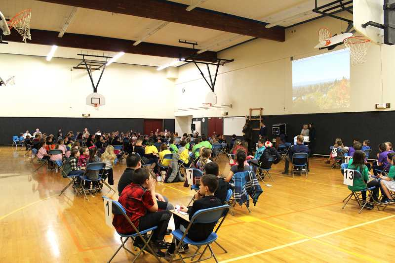 HERALD PHOTO: KRISTEN WOHLERS - Twenty-nine teams, made up of Canby elementary students in grades 3-5, gathered for the district Oregon Battle of the Books tournament at Carus Elementary on Thursday, Feb. 22.
