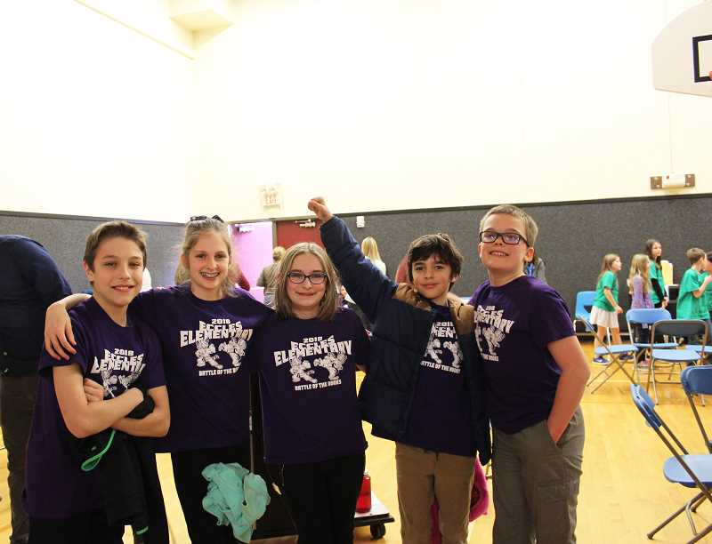 HERALD PHOTO: KRISTEN WOHLERS - The Mustache Meelords, a fifth-grade team from Eccles Elementary, came away with the district OBOB win on Feb. 22. The members of the team from left to right are: Jackson Twitchell, Ava Vordermark, Chloe Phelps, Finn Wilcox and Hunter Robinson.