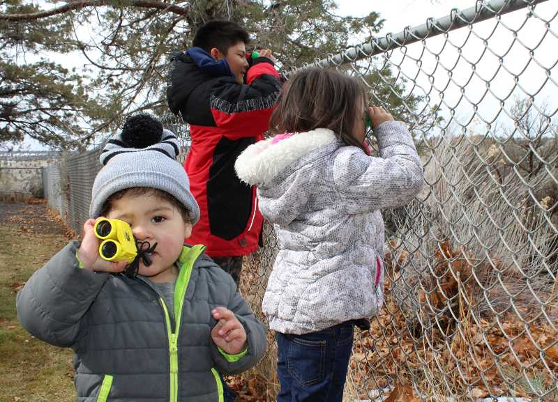 HOLLY M. GILL - Norrin Heath, who is almost 2, tries out binoculars at Eagle Watch Sunday, at Round Butte Overlook Park. Behind him are Aiyana Ohngren, 4, and Brody Ohngren, 9.