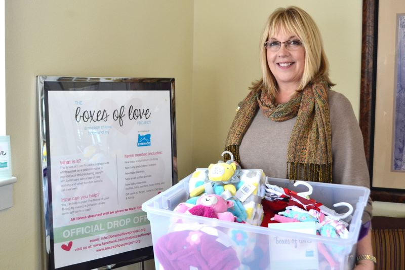 POST PHOTO: BRITTANY ALLEN  - Susan Leininger at Avamere in Sandy spearheaded the retirement commmunity's involvement in the 'Boxes of Love' program.