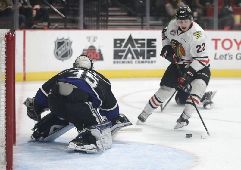 TRIBUNE PHOTO: JONATHAN HOUSE - Left wing Kieffer Bellows (right), son of former NHL star Brian Bellows, has been one of the leading scorers this season for the Portland Winterhawks.