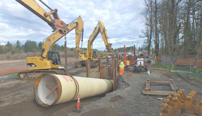 SUBMITTED PHOTO: CITY OF WILSONVILLE - Workers lay water pipeline along Kinsman Road as part of the project to expand Wilsonvilles water intake facility.