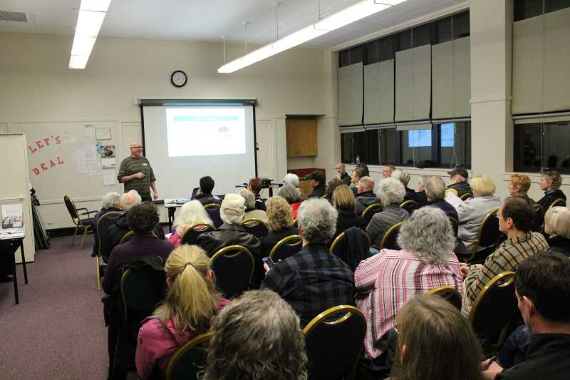 SUBMITTED PHOTO - Ron McDowell of Earth Advantage talks to Portlanders at Multnomah Art Center about the newly required home energy score.