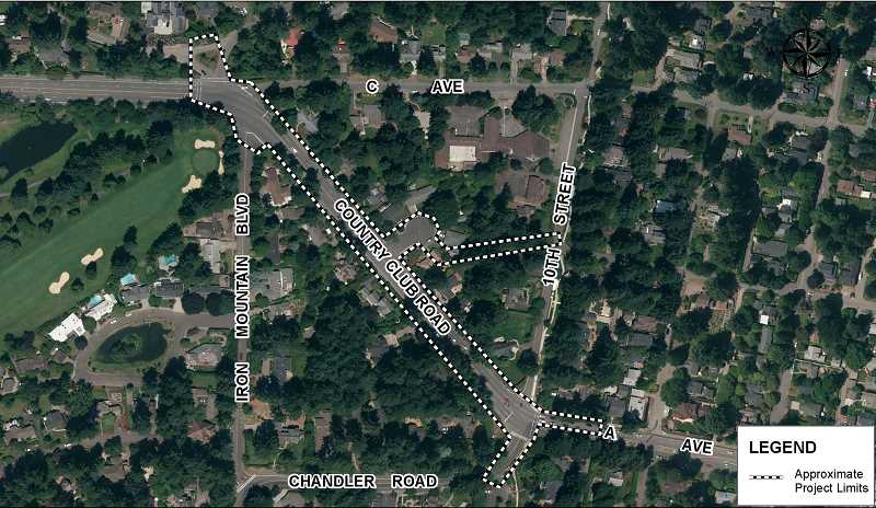 PHOTO COURTESY OF THE CITY OF LAKE OSWEGO - A repair project now planned for late 2018 or early 2019 will include the portion of Country Club Road between Tenth Street and Iron Mountain Boulevard. It will also relocate a sewer line that currently passes under some adjacent homes.