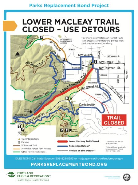 COURTESY MAP: CITY OF PORTLAND - A detour map shows the way around some of the Forest Park trail work.