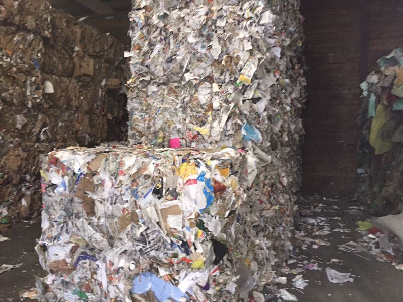 COURTESY FAR WEST RECYCLING  - Recycled paper is baled for sale at Far West Recycling. Such bales are piling up at Portland-area materials recycling facilities since China adopted an impossible-to-meet purity standard for mixed paper and plastic recyclables.