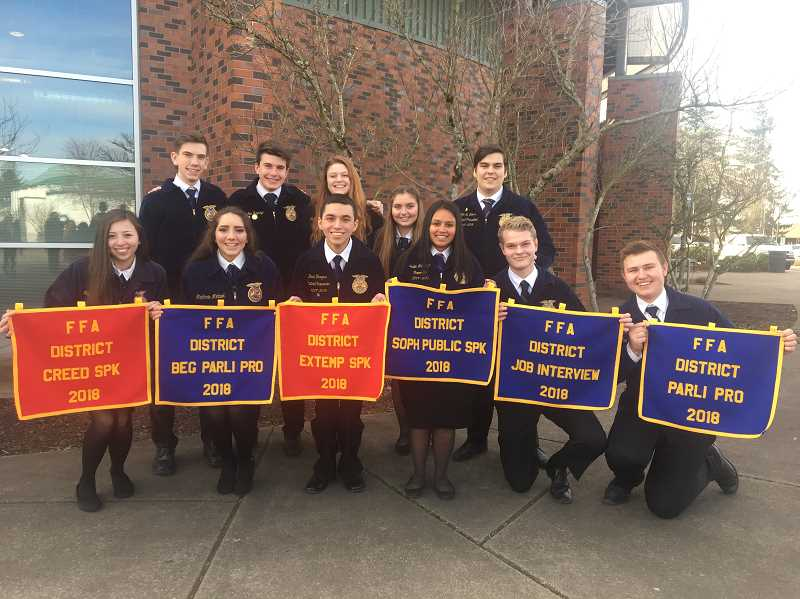 SUBMITTED PHOTO: MACKENZIE BEHRLE - Eleven Molalla FFA members competed at the District Convention on Feb. 10.