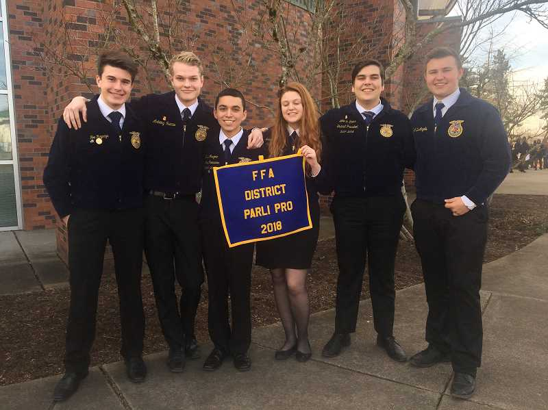SUBMITTED PHOTO: MACKENZIE BEHRLE - Molalla's Advanced Parliamentary Procedure Team took first at districts on Feb. 10.