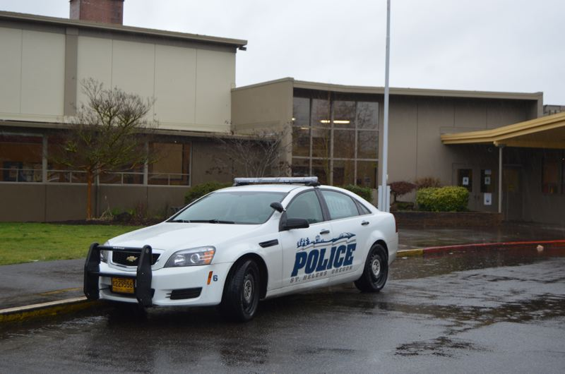 SPOTLIGHT PHOTO: NICOLE THILL - A St. Helens Police vehicle parked outside of St. Helens High School.