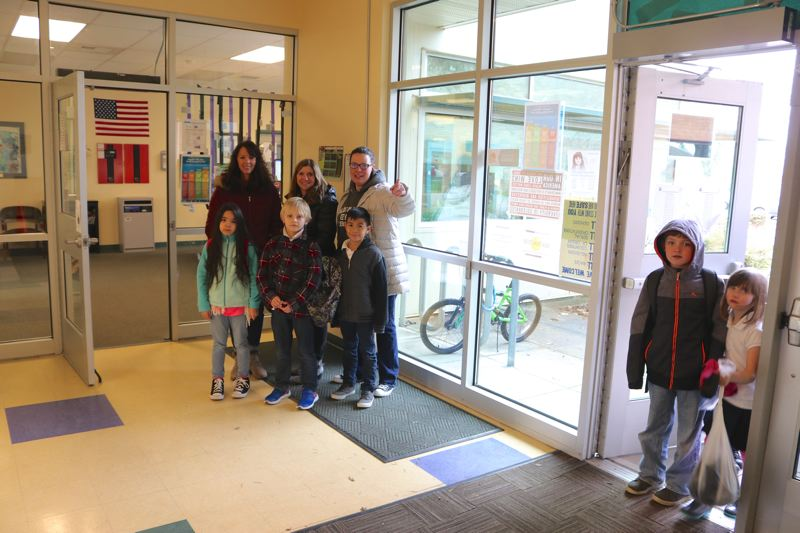 CONTRIBUTED PHOTO: REYNOLDS SCHOOL DISTRICT  - Families, students and teachers appreciate the new vestibule at Salish Ponds Elementary School. Visitors cannot go directly into the school without passing through the staffed office.