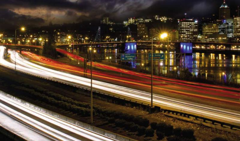DREAMSTIME/PAMPLIN MEDIA GROUP: JAIME VALDEZ -  I-5 as it runs through downtown Portland is a classic bottleneck. Public agencies are hoping tech companies can figure out ways of using sensors and data to move traffic through the system a little better as the population expands.