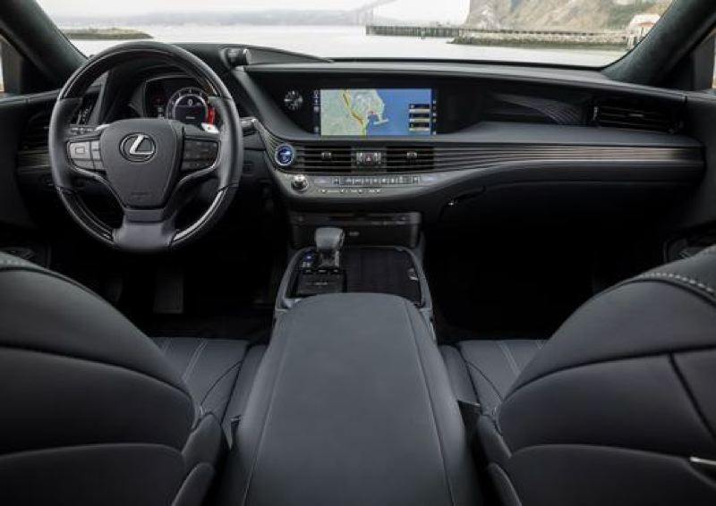 COURTESY TOYOTA MOTOR SALES - The swoopy dash in the 2018 Lexus LS 500 is different from those in other luxury cars.