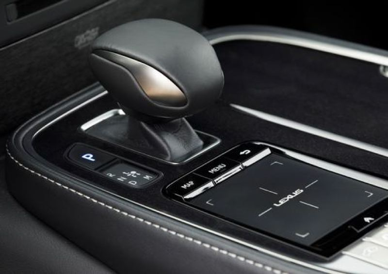 COURTESY TOYOTA MOTOR SALES - The 2018 Lexus LS 500 has an electronic shifter and touchpad for controlling the display screen.