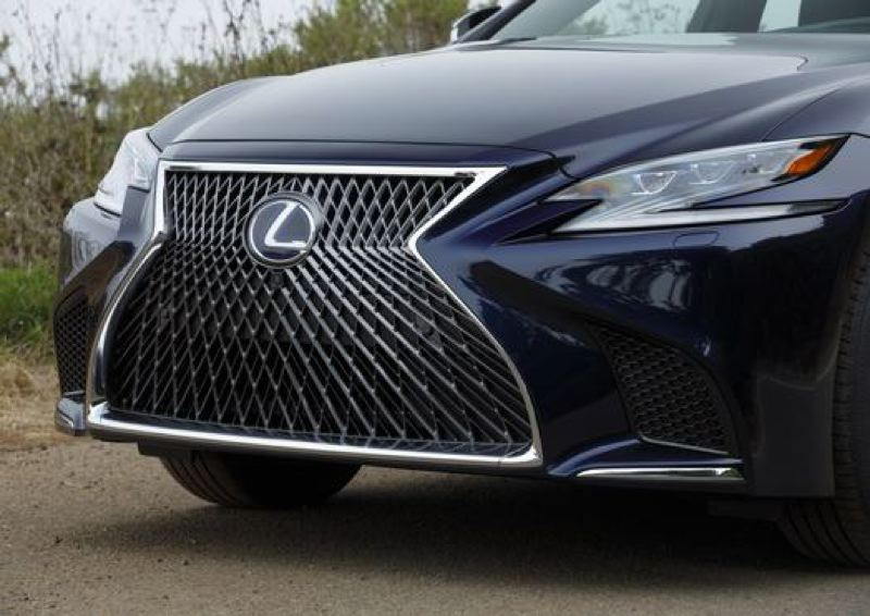 COURTESY TOYOTA MOTOR SALES - The large spindle grill on the 2018 Lexus LS 500 demands attention.
