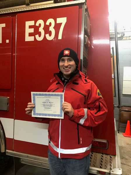 SUBMITTED PHOTO: COLTON VOLUNTEER FIREFIGHTER ASSOCIATION - Casey Norlin was presented with his Firefighter II certificate at the drill night.