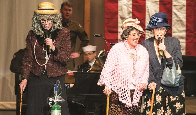 LON AUSTIN/CENTRAL OREGONIAN - Left to right, Sue Gillham, Kate Soliz and Lori Desjardins, as Marge, Mable and Maxine, entertained the audience with comedy and singing.