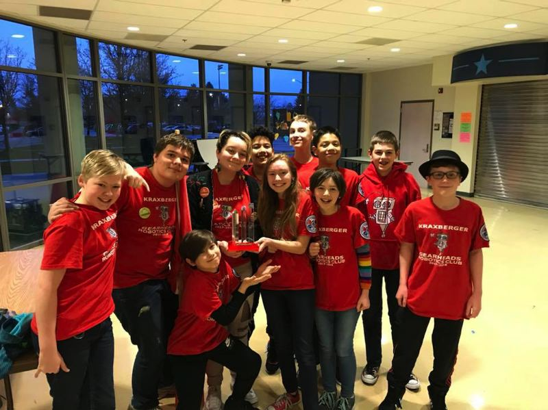 PHOTO COURTESY: LESLIE ROBINETTE - Kraxberger Gearheads team 8132 poses after advancing to the Super-Regional Championship. Only 14 of 200 Oregon teams achieved the honor.