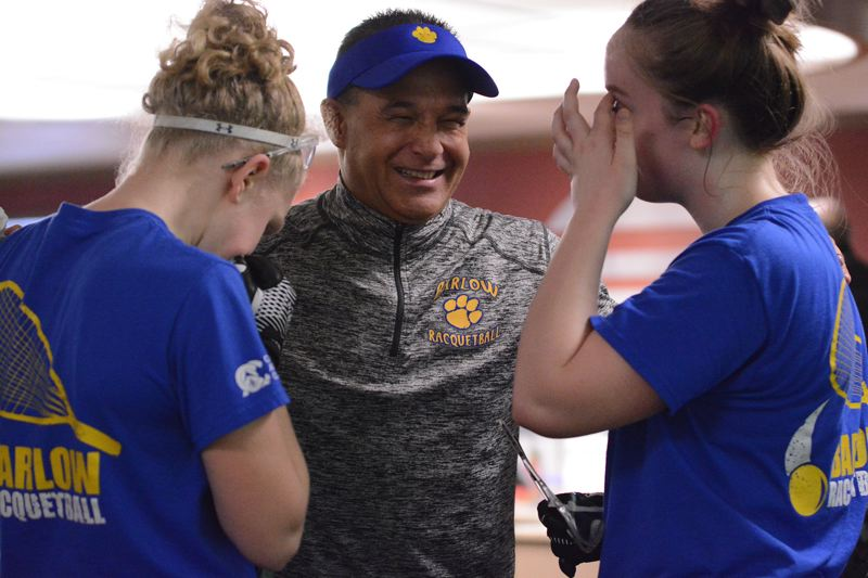 OUTLOOK PHOTO: DAVID BALL - Barlow coach Brian Ancheta shares a light moment with the duo of Annie Roberts, left, and Kelsey Klinger during their quarterfinal upset over the No. 3 seed on Friday.