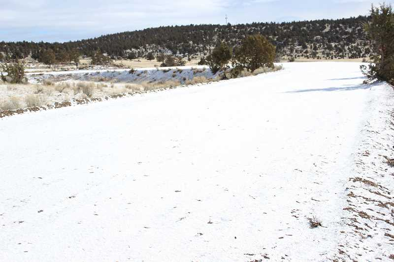 JASON CHANEY - The horse track, covered in snow Friday, is exactly one half-mile long and is located about a third of a mile from the Combs Flat Road parking lot.