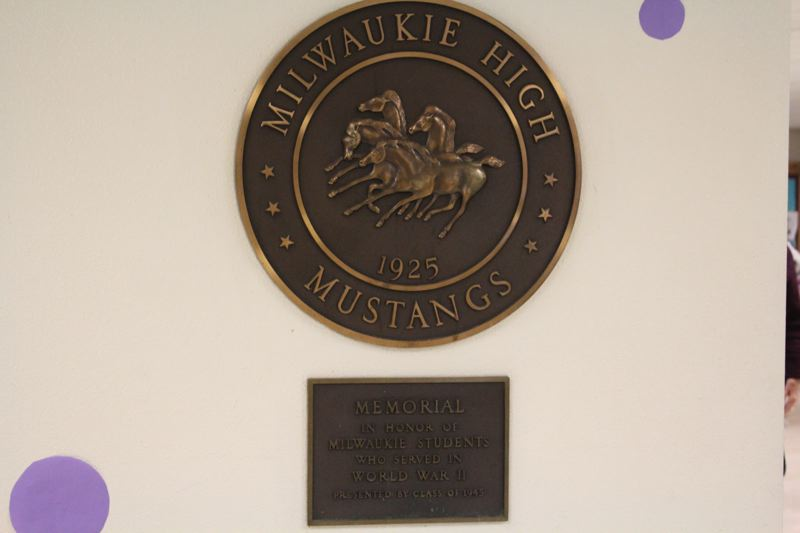 PHOTO BY: MADISON DALLING-RAISNER - Milwaukie High School plaque commemorates 1925 building and its World War II veterans.