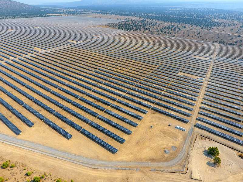 PHOTO COURTESY OF AVANGRID - The Gala solar power plant sits on about 400 acres of land south of Prineville and produces 56 megawatts, enough electricity to power about 14,000 homes.