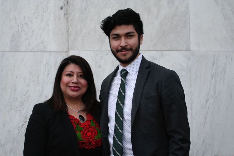 PARIS ACHEN/CAPITAL BUREAU - Rep. Teresa Alonso Leon, D-Woodburn, the first Latina elected to the Oregon Legislature, and Portland resident Ricardo Lujan-Valerio, a DACA recipient, pose together outside the Oregon State Capitol in Salem March 5, 2018, during a rally for protections for 'Dreamers.'