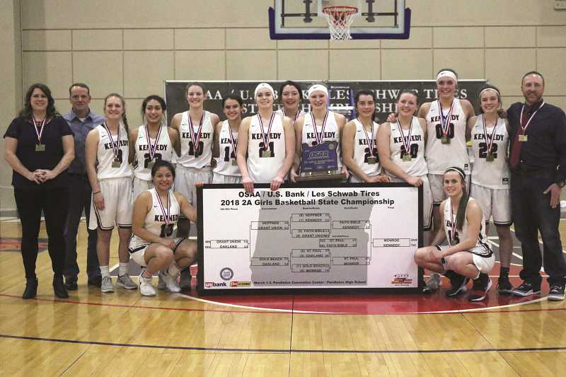 JODI ARRITOLA - Kennedy's 2018 2A Girls Basketball State Championship is the fourth title the school has brought to Mount Angel in the past decade. The girls basketball program won a championship in 2016, while the girls track and field program won in 2014 and the baseball team won in 2012.