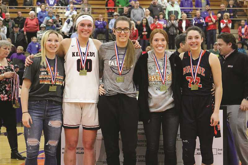 JODI ARRITOLA - Kennedy sophomore Sophia Carley (second from left) was named to the All-Tournament First Team.