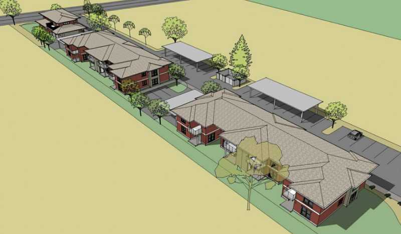 COURTESY RENDERING - Catholic Community Services and Fostering Hope Initiative have broken ground on this complex off of Lincoln Street that will house 16 low-income families. It's anticipated to be completed by the end of the year.