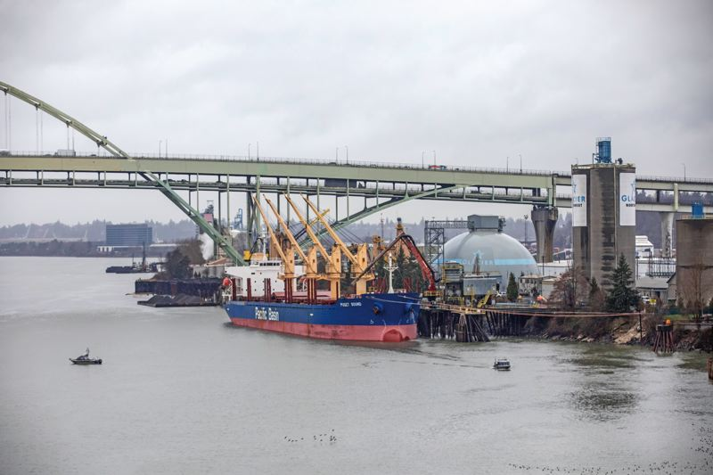 TRIBUNE PHOTO: JONATHAN HOUSE - The Glacier Northwest cement plant is located on the Willamette River north of the Broadway Bridge, in what's known as River Mile 11E. The city and five companies are now working on a detailed cleanup plan for that area.