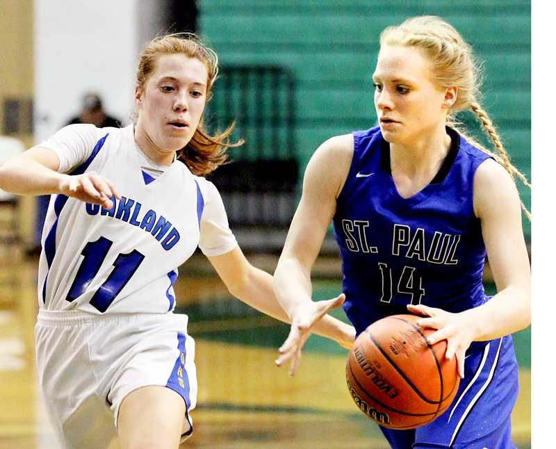 CONTRIBUTED PHOTO -- JODI ARRITOLA - Sophomore Isabelle Wyss drives the lane during St. Paul's 39-36 quarterfinal victory over Oakland March 1 at the OSAA 2A state tournament in Pendleton. Wyss was named to the all-tournament second team after leading the Bucks to a third-place finish.