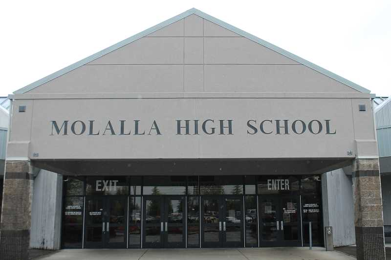 PIONEER PHOTO: CONNER WILLIAMS - Someone wrote 'RIP MHS 3-1-18' on a bathroom stall, reportedly in McMinnville, but police responded to Molalla High School on March 1 as a precaution.