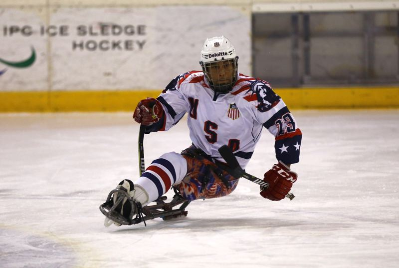 COURTESY: EVAN HALPOP/USA HOCKEY - Portland native Rico Roman will play in his second Paralympic Winter Games this week as a forward on the U.S. sled hockey team.
