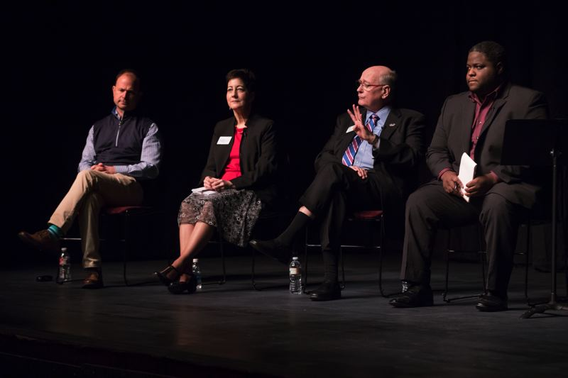 TIMES PHOTO: JONATHAN HOUSE - Candidates seeking to lead the Washington County Board of Commissioners, from left, Ryan Deckert, Kathryn Harrington, Bob Terry and Shabba Woodley.