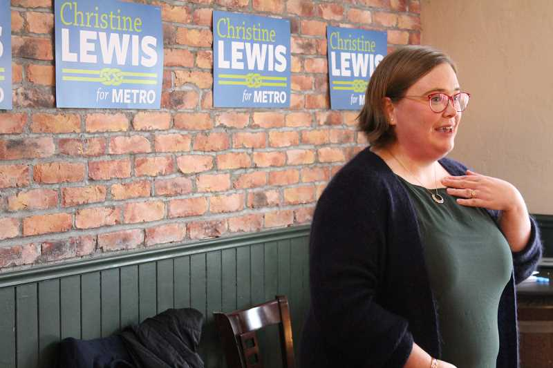 TIDINGS PHOTOS: PATRICK MALEE - Christine Lewis spoke before dozens of supporters at the Willamette Ale & Cider House as she formally launched her campaign for Metro Council Sunday, March 4.