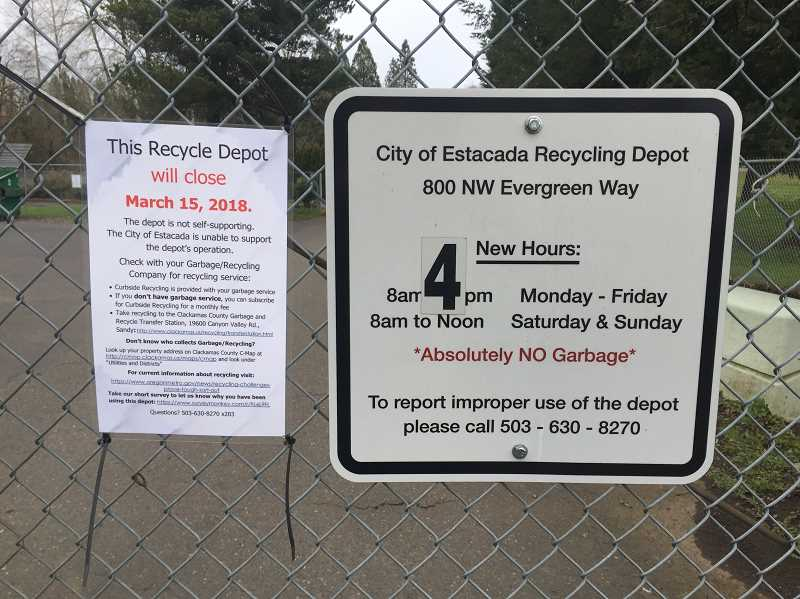 ESTACADA NEWS PHOTO: EMILY LINDSTRAND - The city of Estacada's recycling depot will close next week because of rising costs and illegal dumping.